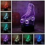 3D Rgb Led Nachtlicht Rollschuhe Multicolor 7 Farbwechsel Tischlampe Usb Für Kind Geschenk Weihnachten Decror Neuheit
