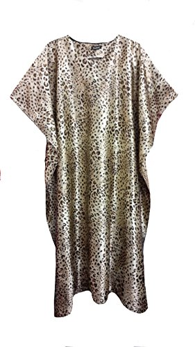 (15029) Ladies Beige with Leopard Printed Soft Silky Satin Long Kaftan. UK 10-32