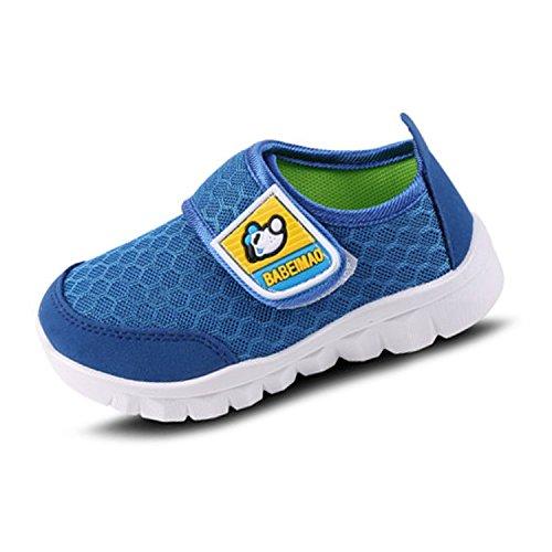 Kleinkinder Kinder Schuhe (Klettverschluss Schuhe Kinder Baby Rutschfest Weiche Sohle Mesh Kleinkind Sneaker Jungen Mädchen Blau 23)