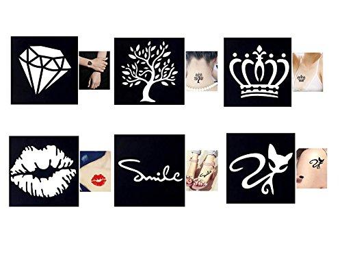 Tattoo Schablonen / Vorlagen 6 kleine Sheet Set Mini 1 für Henna Tattoo Glitter Tattoo Air Brush Tattoo