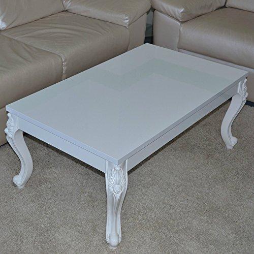Euro Tische Couchtisch 100x60x44 cm, Weiß lackiert Hochglanz, Wohnzimmer-Tisch Sofatisch...