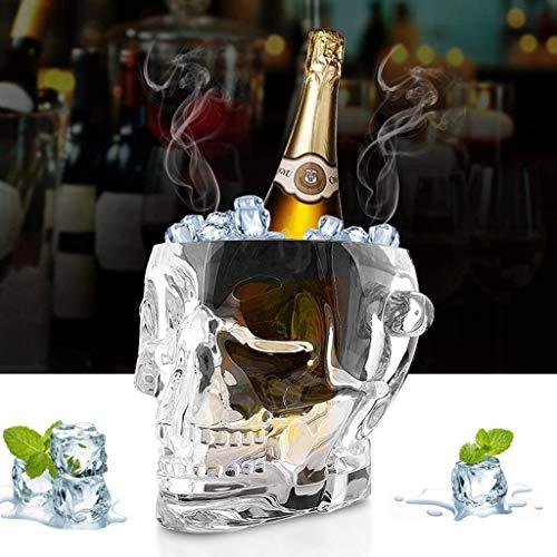A-Lnice Cráneo Creativo de Cristal acrílico - Cubo de Hielo - Enfriador de Vino - con 2 Asas y Clip de Hielo - Claro - 1.5L