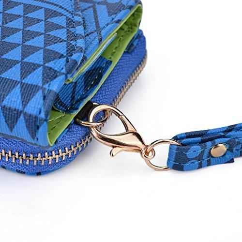 Kroo Pochette/étui style tribal urbain pour Yezz ANDY 6Q/5.5ei Multicolore - vert Multicolore - bleu marine