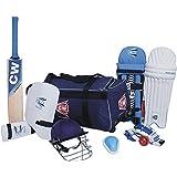 CW Sports Academy Team Cricket Kit Blue with Cricket Bat {Large kit Bag + Cricket Bat + Cricket Helmet +Abdominal Guard +Leather Ball +Batting Gloves + Leg Guard +Arm & Thigh Guard }