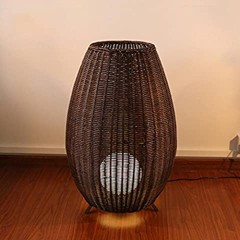 Floor Lamp Bamboo Weaving Lampshade High Quality Rattan Material Insect Bite Control Certified E27 Lampholder 220V 77cm
