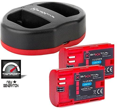 Akku Ii 7d Canon (Baxxtar USB Dual Ladegerät TWIN PORT 1823/2 mit 2x Baxxtar Akku für Canon LP-E6N Für Canon XC10 XC15 EOS 60D 70D 80D 5D Mark I II III IV 6D 7D Mark I II)