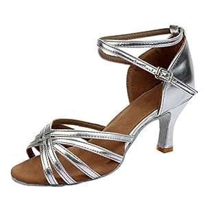 Amurleopard Damen Latein Schuhe 5cm Absatz Silbern 35(Herstellergröße:36)