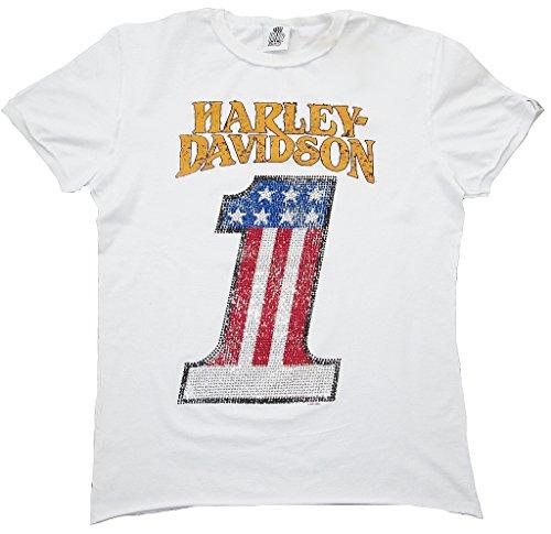 H D CLASSIC Herren Men T-Shirt Weiss Official HARLEY DAVIDSON Merchandise Number 1 Strass USA M 48/50