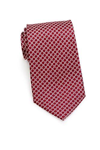 CANTUCCI Design-Krawatte Herren, 100% Seide, Gitter-Muster, 11 verschiedenen Farben, 8,5 cm, Handarbeit, Hochzeit - Business - Alltag (Rot)