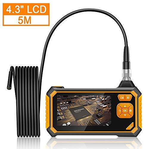 zonpor Endoskopkamera, Industrie Endoskop 4,3 Zoll LCD Bildschirm Digitale Inspektionskamera 1080P HD Wasserdicht mit Licht, Hand Video Boreskop mit 2600mAh Batterie, 5 Meter