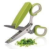 COOKSET von BangShou Kräuterschere Edelstahl Scissors Herb mit 5 Klingen