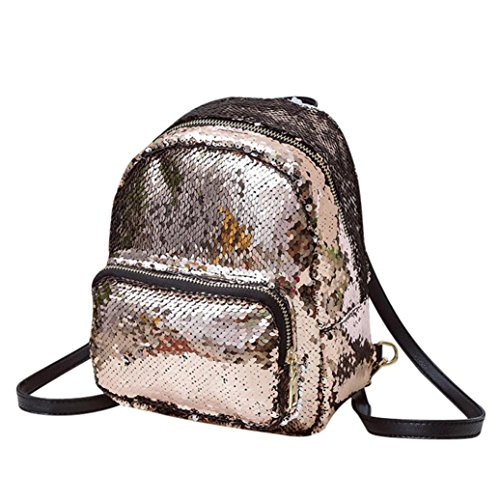Mädchen Pailletten Leder Rucksack Schultasche Trave Schultertasche Rucksäcke Bookbags Female Damen Reiserucksack Reise Rucksack Backpack (Pink) (Kleines Mädchen Bookbags)