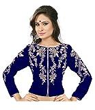 Drapme round Neck Blue Velvet Embroidery Jacket Blouse