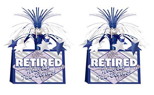 Beistle 54795 Retired Now The Fun Begins Tafelaufsatz, 2-teilig, 33 cm, blau/weiß/silber (Mittelstücke Ruhestand Den Für)