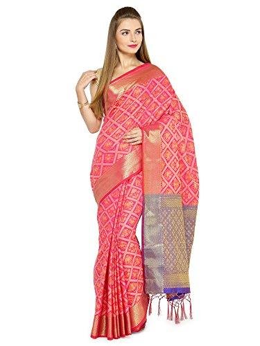 Sheknows Blue & Pink Colour Cotton Silk Patola Saree(PTHSR6621A_PATOLA)