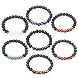 JSDDE Lava Armband, Zen-Buddhismus Armreif Lava Stein Yoga-Armband 7 Chakra Healing Energietherapie Balance Buddha-Armband (7er Set)
