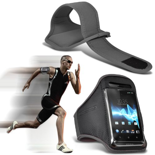 ( Grey ) LG Optimus L7 II P710 Premium Quality Sports Lauf Jogging Ridding Bike Cycling Gym Arm-Band-Kasten-Beutel-Abdeckung von Fone-Case
