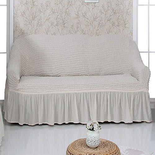 Mixibaby Sofabezug Sofahusse Sesselbezug Sitzbezug Sesselüberwurf Stretchhusse 2 er Sofa, Farbe:Cream