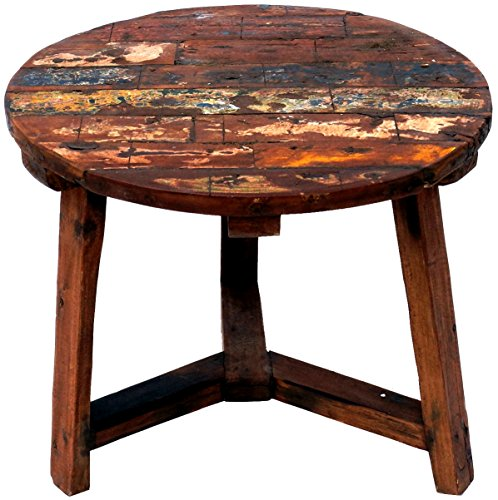 Guru-Shop Table Basse Ronde en Bois Recyclage, Teck, Tables Basses