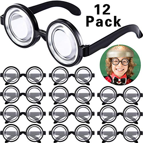 Für Nerd Paare Kostüm - Frienda Runde Nerd Brille Zauber Kunststoff Schwarz Rahmen Nerd Brille für Kostüm Party Gefallen (12 Paare)