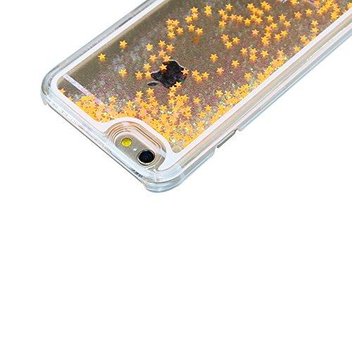 iPhone 6S Plus Coque ,iPhone 6 Plus Coque,iPhone 6S Plus Case,EMAXELERS Fluorescence Etoiles Series dur Plastique Transparent Clair Liquide Glitter Bling Sparkles Rouge-orange Étoiles Design Strass Ca Fluorescent Star Series 7