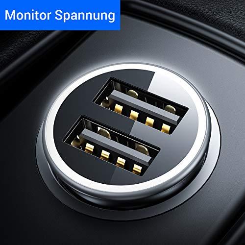 DIVI Auto Ladegerät, Metall Mini USB Auto Adapter 4.8A/24W [Anzeige Anzeige Spannung Status] KFZ ladeadapter 2 USB-Port für iPhone X/XS Max, Huawei P30, Samsung S10/9/8, iPad Und mehr-MEHRWEG-Schwarz