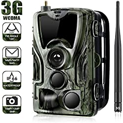 SUNTEKCAM 3G 2G Cámara de Caza 16MP 1080P Cámara de vigilància de la Vida Silvestre, Impermeable IP66 Trail Cámara,Invisible Visión Nocturna Distancia de Disparo hasta 20M,HC800G