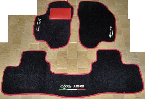 alfa-romeo-156alfombras-para-coche-color-negro-con-borde-rojo-con-traseros-unidos-juego-completo-de-