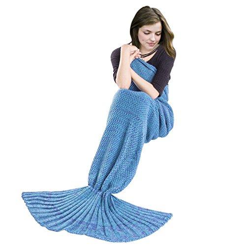 BATTOP Mermaid Schwanz gestrickten Decke für Erwachsene- (General Stil, Hellblau )