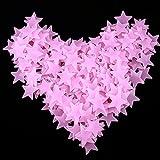 Kumkey 100x Leuchtaufkleber Leuchtsticker Fluoreszierend Wandsticker Selbstklebend Sterne Aufkleber Leuchtpunkte Sternenhimmel für Schlafzimmer Kinderzimmer Babyzimmer Wandtattoo Wandaufkleber (Rosa)