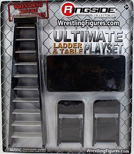Black Wrestling Set aus Tisch, Leiter und 2 Stühlen für Action-Figuren Mattel WWE (Wrestling Spielzeug Action-figuren)