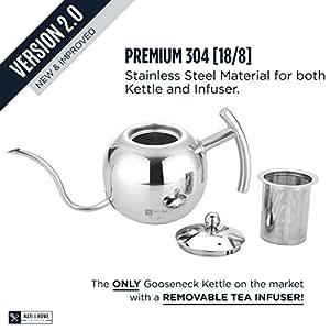 Acier inoxydable de première qualité pour plus de goutte Café/Thé Bouilloire?L'original Genie?Infusion Thé amovible intégré pour les amateurs de thé?1,1l/4tasse
