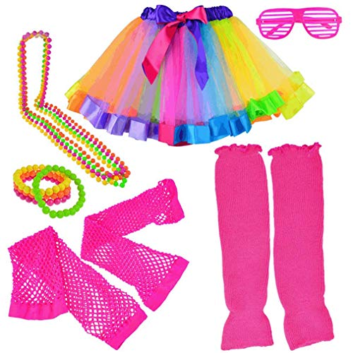 Lystaii Kinder Mädchen Kostüm Zubehör 1980s Jahre ausgefallene Outfits Rock Beinlinge Handschuhe Brille Halskette Armbänder für Cosplay Theme Party Halloween