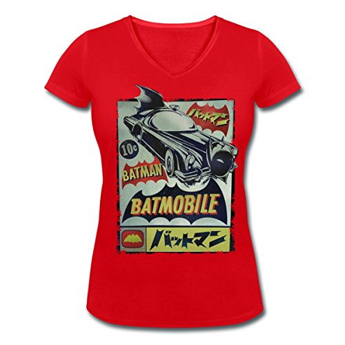 DC Comics Originals Batman En Japonais T-shirt col V Femme de Spreadshirt®‎ Rouge