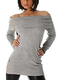 Jela London Damen Langarmshirt Longpulli Carmen-Ausschnitt Strass-Applikation  (34 36 38) 94949d892b