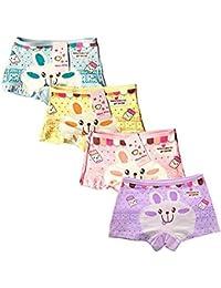 ARAUS Niñas Ropa Interior Conejo Calzoncillos de Algodón Panties Braga Braguita Transpirable Suave para Niños Pequeños en Paquete de 4, 2-10Años