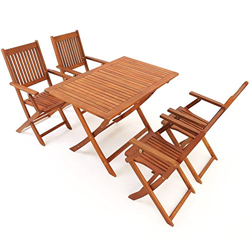 Deuba Wooden Garden Dining Table and Chairs Set FSC�-Certified Eucalyptus Wood 4 Seater Folding Outdoor Furniture