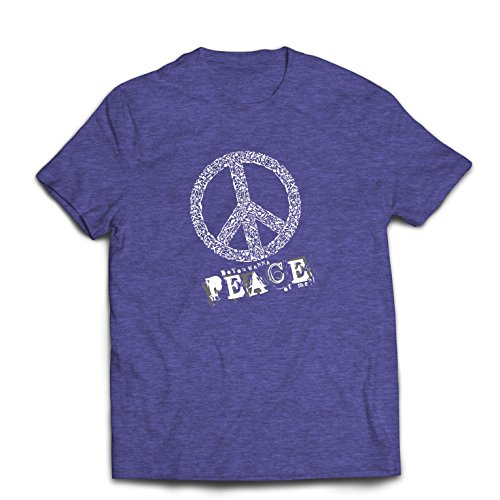 Männer T-Shirt Willst Du Stück von Mir - Frieden Slogan, 60er 70er Hippie - Hippie Festivals, Hipster Swag (Medium Heidekraut Blau Mehrfarben) (Besten Wolf Kostüm)