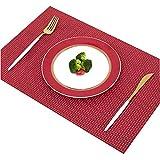 Addfun®Tischsets, Prämie Waschbar Hoch Qualität Rutschfest Isolierung PVC Tischsets für Esstisch(Rot, 6er Set)
