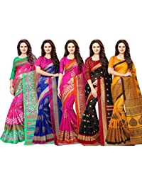 Vashtram Women's Multi Color Bhagalpuri Silk Printed Saree With Blouse Piece (Pack Of 5)