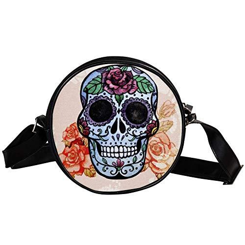 Bennigiry mexikanischer Sugar Skull Runde Umhängetasche Geldbörse Clutch Handtasche Geldbörse für Teenager Mädchen Frauen