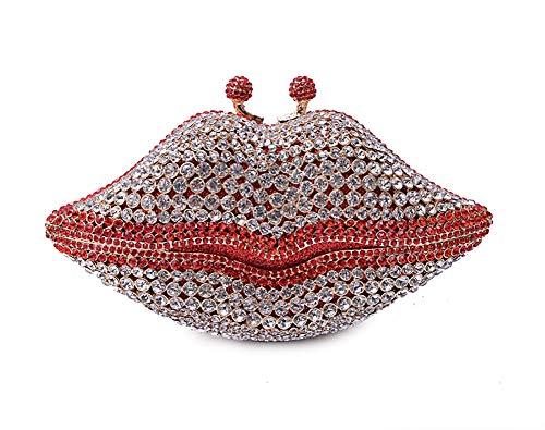 Förmige Handtasche (KOKR Party-Handtaschen, Lippe-Förmige Diamond Beading Dinner Bags Damen Geldbörse Hard Shell Clutches Für Abendgesellschaften Wedding Clubs)