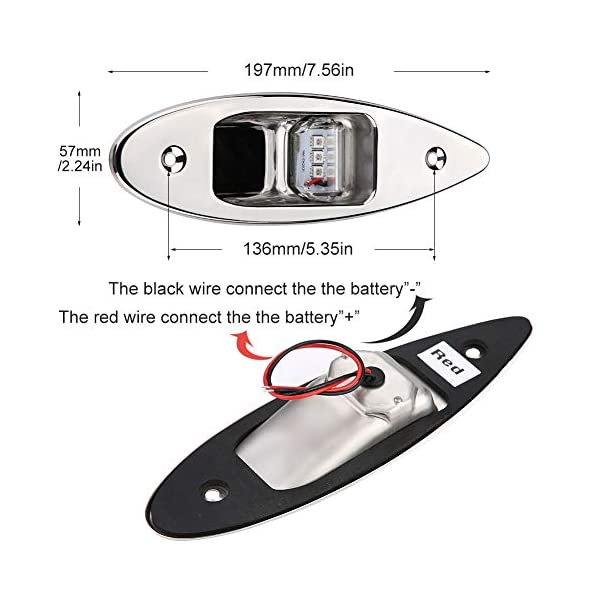 Fydun 12V LED Flush Mount Side Bow Navigation Signal Light 2Pcs 120° Lamp for Marine Boat Yacht Green 61.5lm&Red 19lm 6