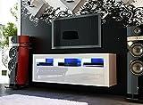 White Matt & White High Gloss Modern TV Unit 130cm Cabinet.Wall Mounted. LED Kit