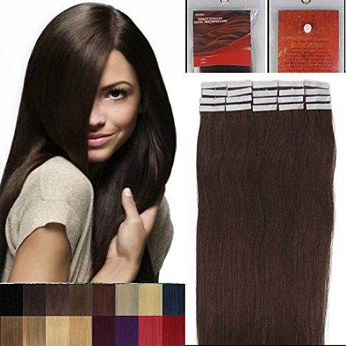 16 Inch 02 Dark Brown Tape In Premium Remy Human Hair Extensions_20 Pieces Set_30g Weight Straight by LAN