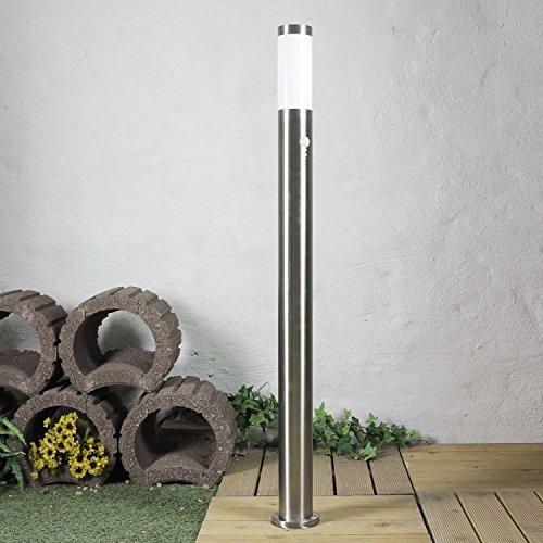 Hohe Wegeleuchte Edelstahl Silber H:110cm E27 IP44 Ø8cm Bewegungsmelder Sensor Hof Weg Garten Lampe -