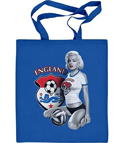 England Fußball Trikot Fan Shirt mit Marilyn Monroe Jutebeutel Baumwolltasche One Size Blau