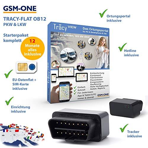 Tracy-OB12 Sofortstartpaket: Kompakter OBD2 KFZ/LKW GPS-Tracker inkl. EU-Ortung, vorinstall. SIM-Karte, Portal & App fertig vorbereitet. 12 Monate Alles inklusive. Einstecken, fertig!