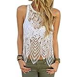 Resplend Damen Sommer Off Shoulder Crop Top Mode Spitze Ärmellose Weste Unregelmäßiger Saum Bluse Tank Tops T-Shirt Schlinge Vest