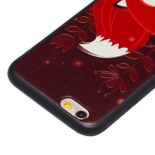 Coque iPhone 6 6S, Cozy Hut ® Très Légère iPhone 6 6S Pure Black Ultra-Fine Housse Etui anti chocs Back Cover Bumper Case Anti Scratch Shock Absorption Bumper, iPhone 6 6S Anti dérapant Noir Souple TP Beau renard rouge